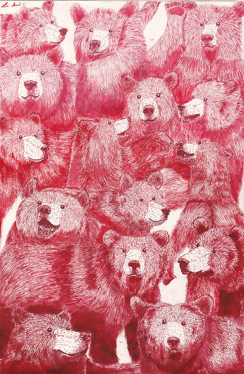 texture, color, movement  grizzlia:  GRIZZLY BEARS R METAL (made with red ink and love)