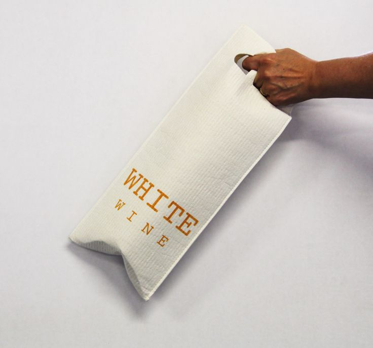 White wine giftbag - you can use this as a cleaning cloth and after several weeks it is only biowaste! Design Susanna Myllymäki Kuitukuu Oy www.morejoy.fi
