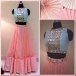 net-pink-plain-semi-stitched-lehenga