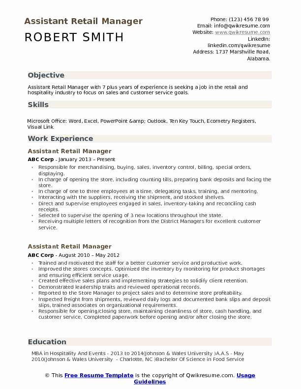 assistant store manager resume best of retail resume