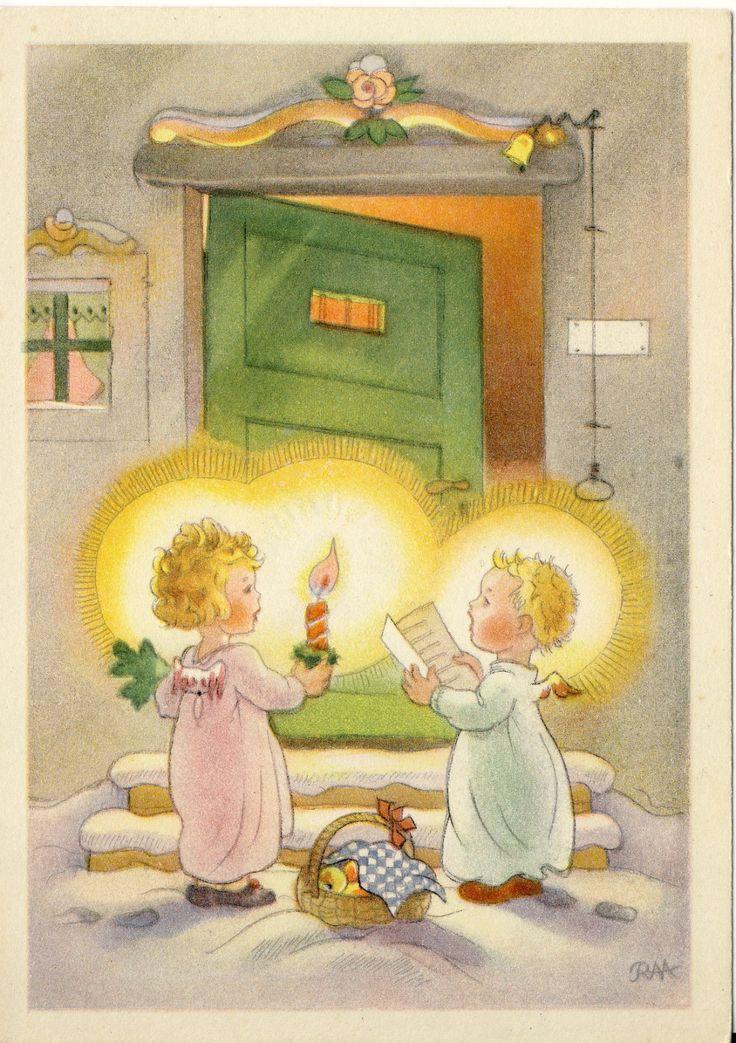 AK,Weihnachten: Engelchen mit Kerze, Liederbuch und Korb, RAA Charlotte Baron, | eBay