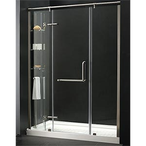 Karine Tub Replacement Shower With Built In Glass Storage Cabinet For Shampoo And Things Take