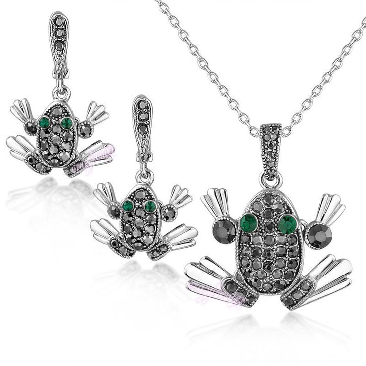 Fashion Marcasite Jewelry Set Frog Animal Pendant Necklace/Earring Party N1340