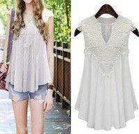 Wish | hot Women blouses Sexy V-neck chemise woven shirt Sleeveless vetement femme Summer blusas de renda feminino Plus Size