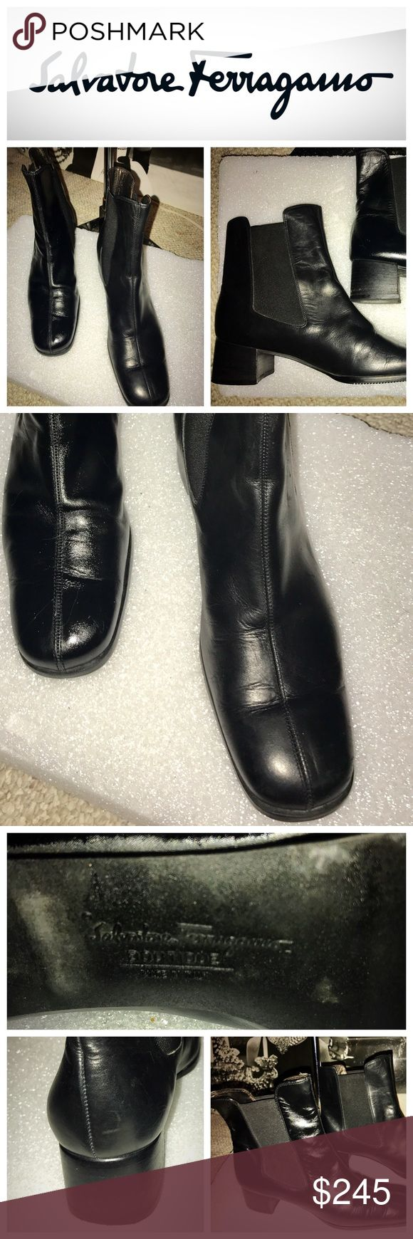 Ferragamo Black Leather Ankle Boots, Gently Worn Ladies , you will love these Classic ankle boots by Salvatore Ferragamo in a size 8 1/2. Used about 5 or 6 times they are in pristine condition. They are slip on with stretchy material on each side. perfect with skinny jeans. or leggings and a baggy sweater. They are retro and chic Salvatore Ferragamo Shoes Ankle Boots & Booties