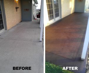 Colored, decorative stained concrete patio.  #decorativeconcrete #stainedconcrete #coloredconcrete  www.northlandce.com/gallery