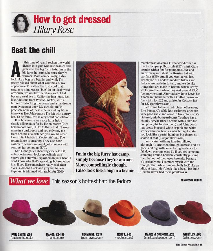 The Times Magazine featuring our Mink Willow Fedora as one of this season's hottest hats (7th November 2015).