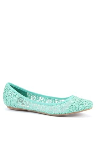 $15.99 Mint Green Lace Ballet Pumps- For the bridesmaids who refuse pumps :)