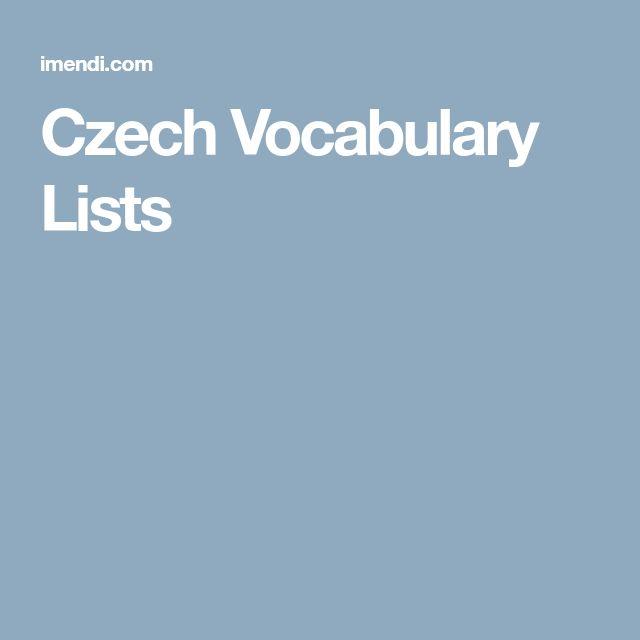 Czech Vocabulary Lists