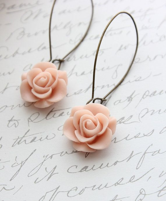Long Rose Earrings, Pale Pink Rose Dangle, Shabby Chic, Vintage Style Jewellery, Bridal, Wedding, Floral Drop Earrings, Resin Rose