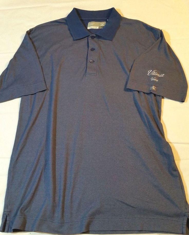 CUTTER & BUCK DryTec Mens Blue Golf Polo Casual Ultimat Vodka Short Sleeve Shirt #CutterBuck #PoloRugby
