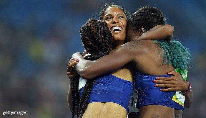 U.S. Olympic Team @TeamUSA  Aug 17 SQUAD GOALS! 🇺🇸 🙌 👑  Brianna Rollins, Nia Ali, Kristi Castlin and USATF