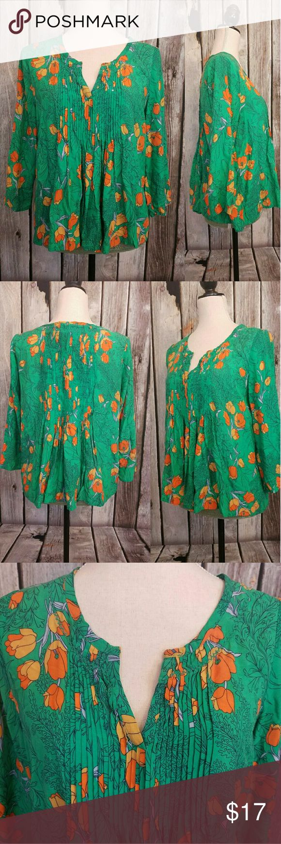 Anthropologie Vanessa Virginia medium pheasant top For sale is a Vanessa Virginia top from Anthropologie, size 6. The top is a pheasant style top with a floral print and pleating. It is an excellent used condition with no rips or stains. All measurements are taken on one side of the item with the item laying flat. Chest 20 inches, hip 26 inches, length 22 inches. Thanks for looking feel free to make an offer or a bundle. Items ship within 1 business day Anthropologie Tops Blouses