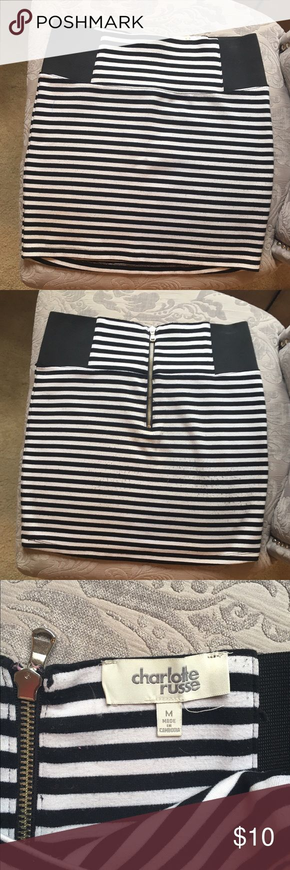 Striped Bandeau Skirt This is super cute and comfortable bandeau skirt perfect for a night out with your girls! It has been well loved and has some pilling on the backside. Charlotte Russe Skirts Mini