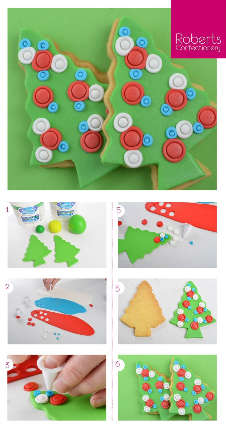 Spotty Christmas Tree Cookie made with Satin Ice Fondant