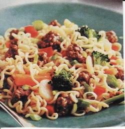 Hamburger Ramen Noodle Stir-Fry. ~ There are many versions of this recipe, but this is the best one!   It can be made with any kind of meat, vegetable, and flavor noodles you have on hand and is fabulous. =): Hand, Dinner, College Food, Cheap Meals, Hamburger Ramen, Rice Ramen Noodles, Flavor Noodles