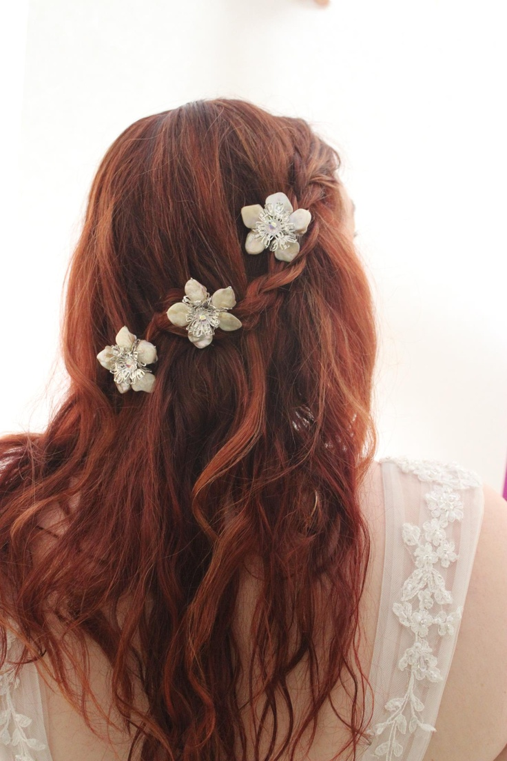 Flowers with a waterfall braid  This would be great for a Medieval or Celtic festival or a fairy costume.