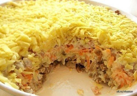 """Салат """"Белая ночь"""". Чередование. 200г маринованных грибов  2 средние луковицы (обжарить)  2 вареных яйца натереть на терке 1 сырая морковь  300 г любого вареного мяса (можно язык)  50 г сыра  Йогурт по вкусу"""