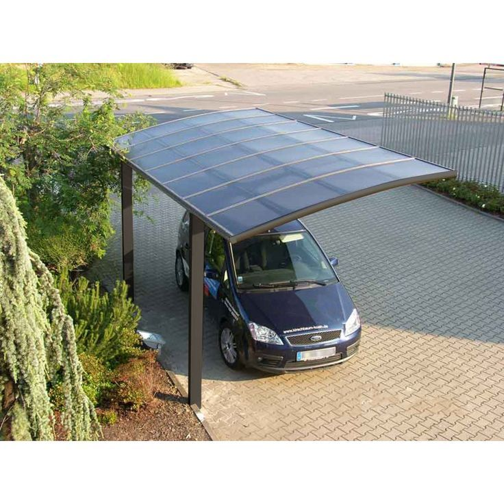 This freestanding, cantilevered carport is a stunning