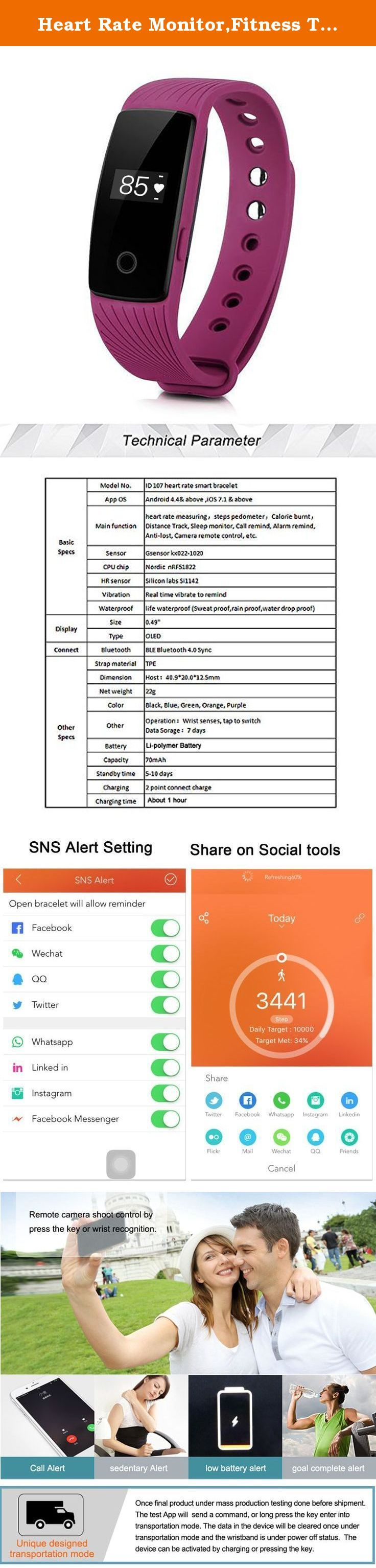 Heart Rate Monitor,Fitness Tracker Pedometers Sleep Monitor Activity Tracker for Android IOS Smartphone Bluetooth 4.0 (Purple). About pairing device: If you can not find device, please make sure the Bluetooth is ON and smart phone OS Android 4.3 & above and IOS 7.1 & above About heart rate: If it is not accurate, please check if there is a gap between the watch and the arm. If you have any questions, please contact us by email, we will definitely help you to solve. Specifications: Product...