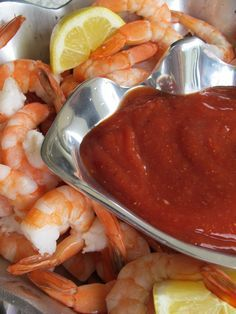 Colossal Shrimp and Super Easy and Delish Cocktail Sauce _ Serve Shrimp over a bed of ice with lemon wedges.