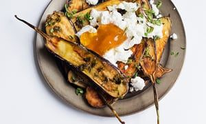 'Trickle honey across the top and serve hot': aubergine fritters with honey and sheep's cheese.