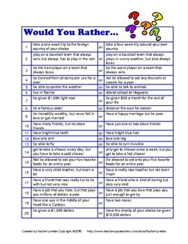 FREE Would you rather questions. Great when you have a few spare minutes.