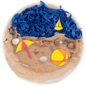 Beach Craft Collage! The beauty of this summer craft that will look impressive no matter how it's done. Make a stunning collage from an easy paper plate craft, and you'll be in the mood of the beach even on a rainy day!