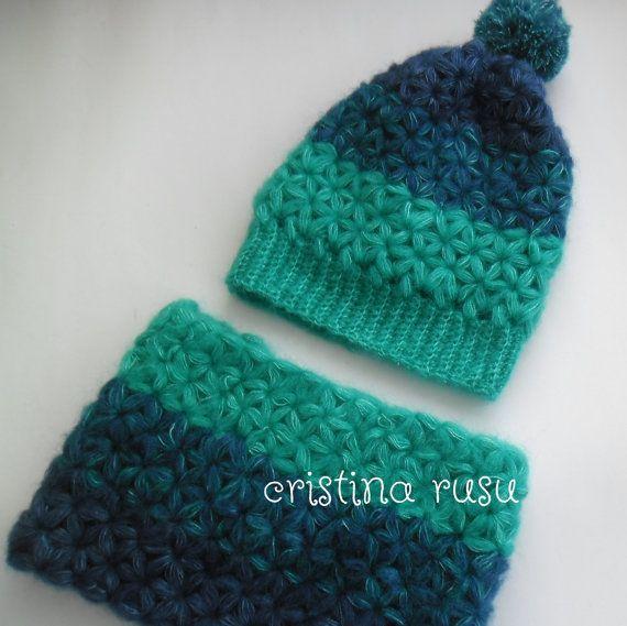 Crochet hat and scarf set Crochet greenblue by CrisColourCrochet