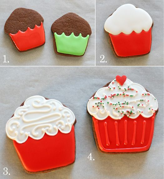Cupcake decorated cookies ~ Royal Icing & Chocolate Roll out Cookie Recipe with Tutorial  ~  by Glorious Treats