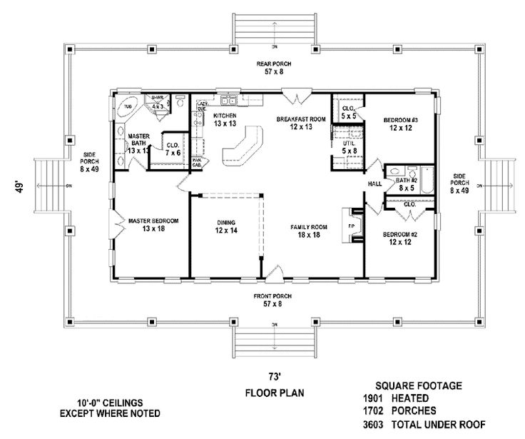Best 25 simple floor plans ideas on pinterest - Home plans wrap around porch pict ...