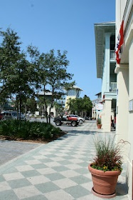 checkerboard stained concrete sidewalks in Watercolor, Florida