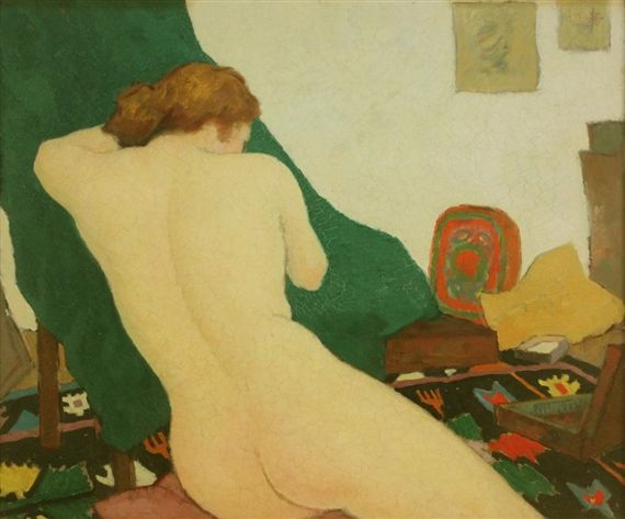 Nicolae Tonitza, Female Nude seated on a Kelhim Rug