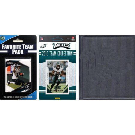 C Collectables NFL Philadelphia Eagles Licensed 2015 Score Team Set and Favorite Player Trading Card Pack Plus Storage Album, Multicolor