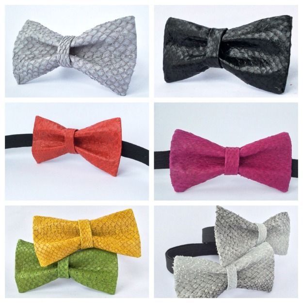 Fish Leather Bow Tie mens bowtie Leather bow ties COLORFUL bow tie boys bowtie by FishLeather 60.00 €