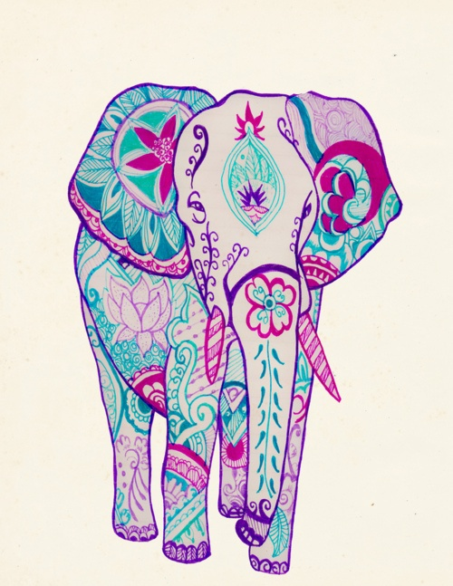 paisley elephant. Love the colours- cool for wall art, fabric art, a tattoo, or framed