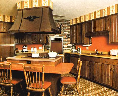The perfect 70's kitchen. You had to have orange/rust ...