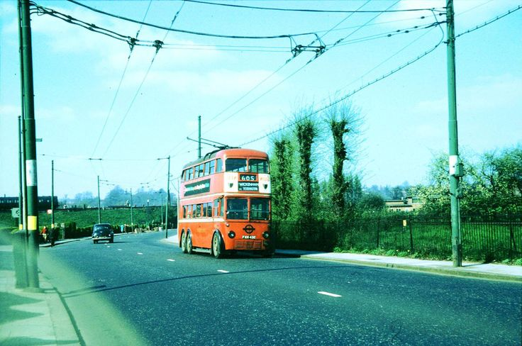London Transport trolleybus on route 605 in West Barnes Lane, Raynes Park, en route to Twickenham via Kingston and Teddington