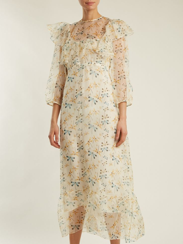 Click here to buy Rochas Round-neck dragonfly-print silk dress at MATCHESFASHION.COM