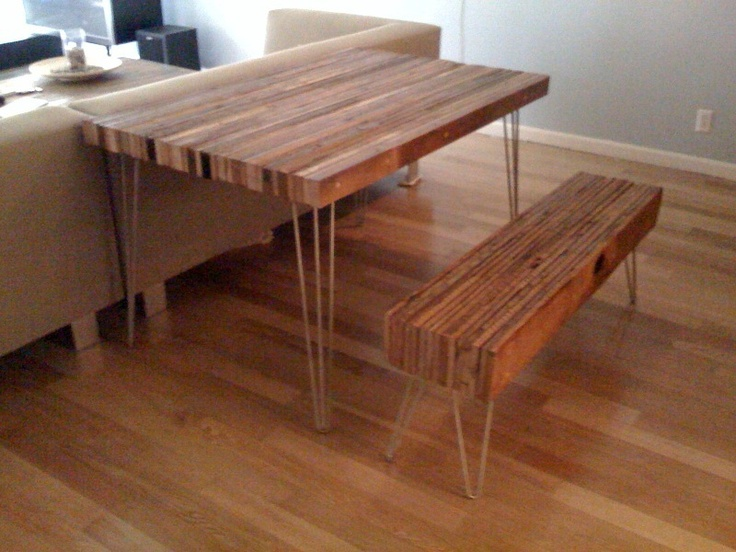 recycled wood furniture ideas. reclaimed wood table and bench recycled furniture ideas