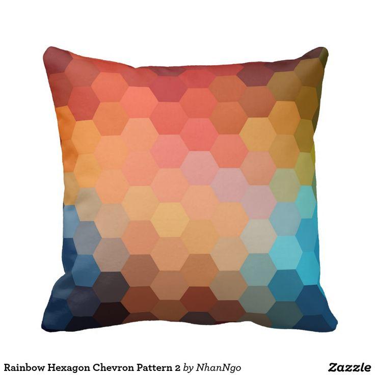 Rainbow Hexagon Chevron Pattern 2 Pillows