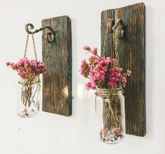 Hanging jar lantern, rustic decor, barn wood, farmhouse, cottage decor, rustic w… #WoodWorking