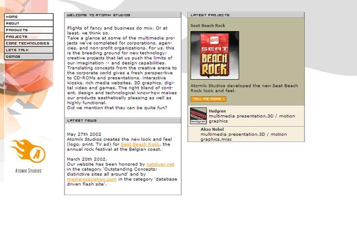 Atomik Studios website in 2002