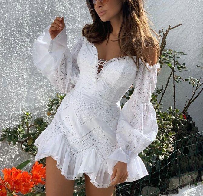 Lou Nea Biala Sukienka Boho M 8542253340 Oficjalne Archiwum Allegro Elegant Mini Dress Lantern Sleeve Dress Lace White Dress