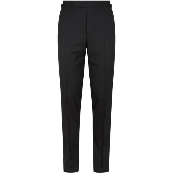 TOM FORD O'Connor Satin Stripe Tuxedo Trousers ($1,045) ❤ liked on Polyvore featuring men's fashion, men's clothing, men's pants, mens formal pants, mens adjustable waist pants, mens satin pajama pants, mens striped pants and mens tuxedo stripe pants