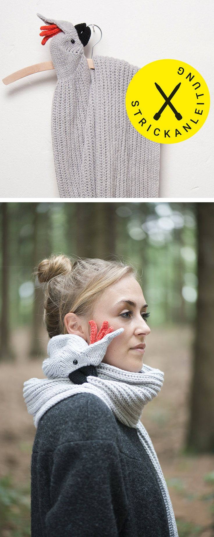 #Strickanleitung und #Strickmuster für einen Papageien Schal, originelle #Strickidee für den Winter, #Geschenkidee / handmade gift idea: #knittingpattern for a bird scarf, #knitting tutorial made by Nina Führer via DaWanda.com