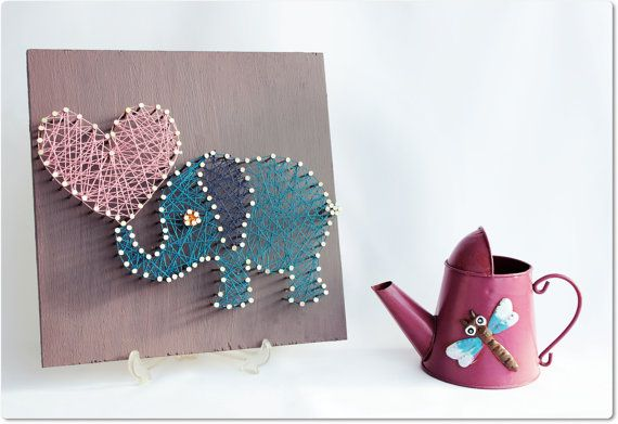 Nursery Wall Art Elephant Wall Art String Art Animal