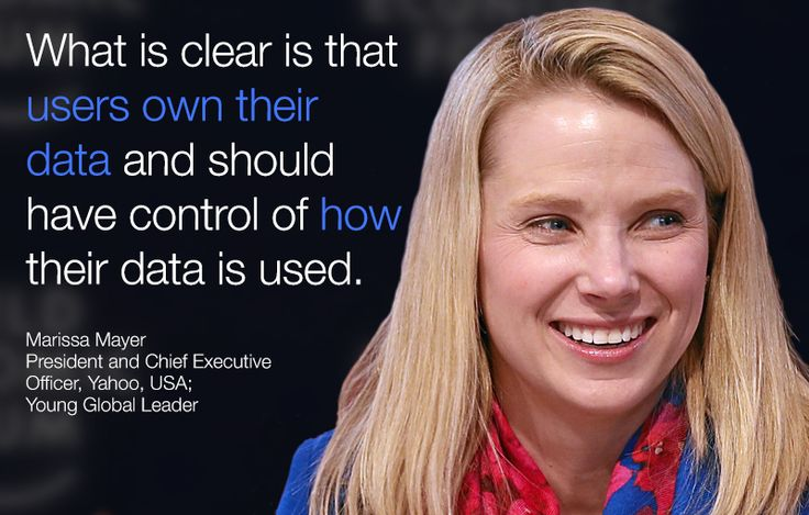 What is clear is that users own their #data and should have control of how their data is used. - Marissa Mayer in #Davos at #wef15