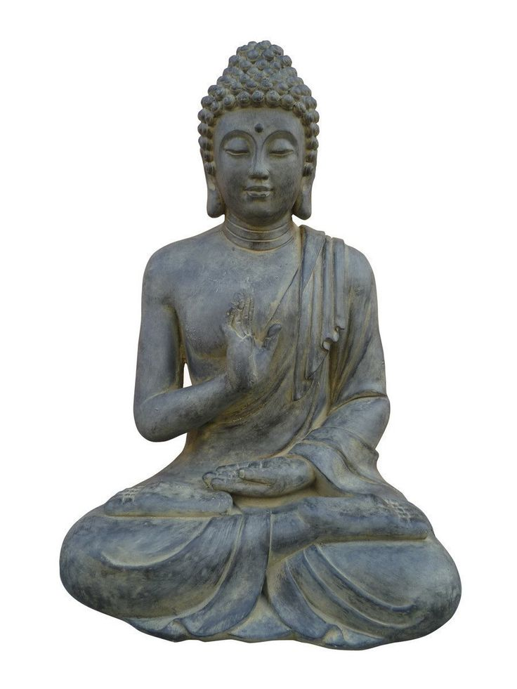 STONE-LITE BOZ 817XL Sitting Buddha Figure with Hand Gesture - Black/Dark Grey -- Want to know more, click on the image. #GardenDecor
