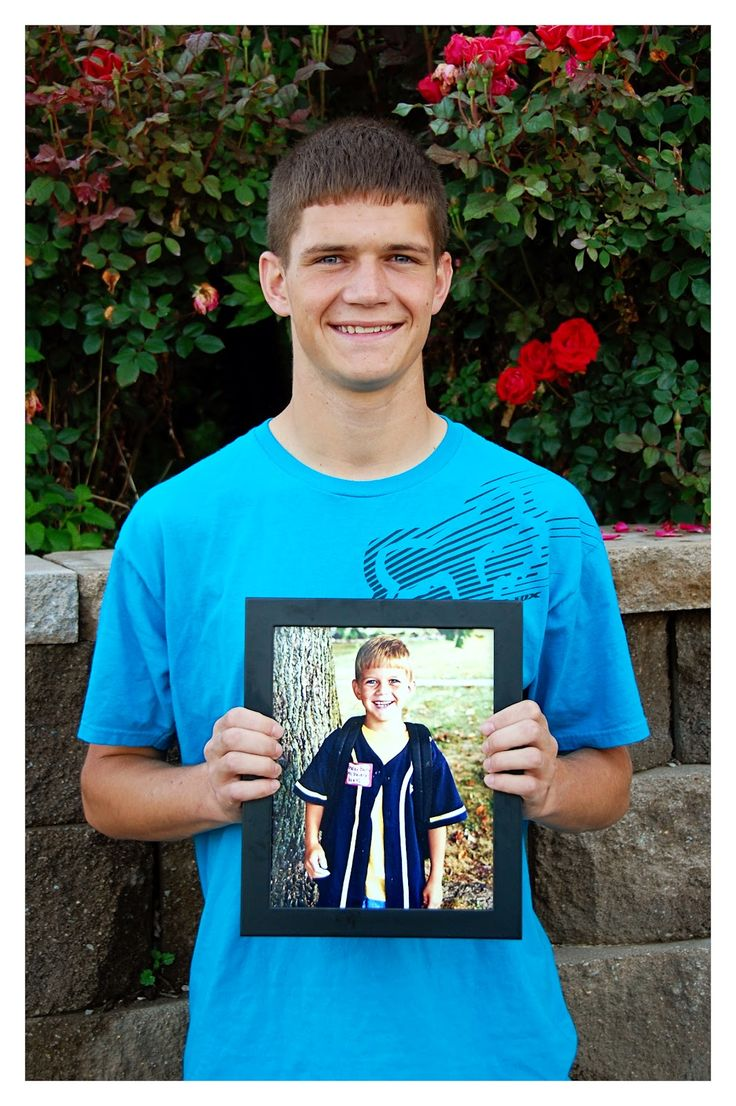 Take photo of child on very last day of high school holding a picture of very first day of kindergarten.